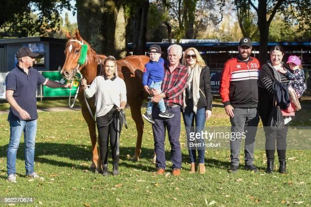 Connections of Pamela Joy after winning the Lodge of the Golden Fleece Slipper Class 1 Handicap at Kyneton Racecourse on April 28 2018 in Kyneton...