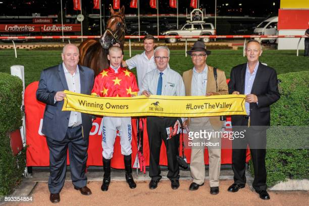 Connections of Pirapala after winning the IGA Supermarkets Handicap at Moonee Valley Racecourse on December 15 2017 in Moonee Ponds Australia