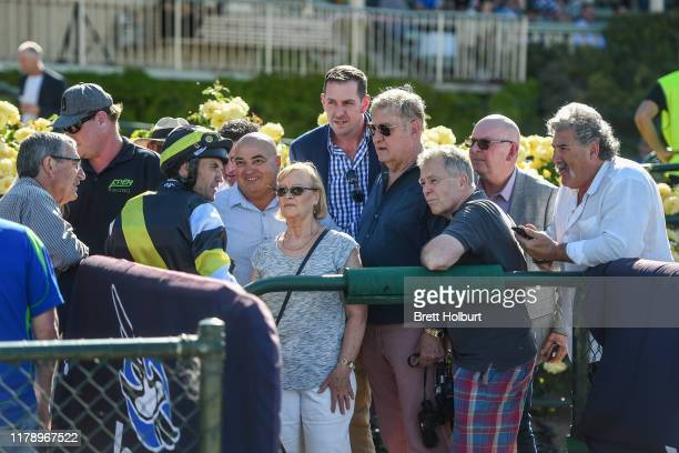 Connections of Polanco after winning the Bendigo Locksmiths - The Melbourne Cup Carnival Country Series Heat 8 at Bendigo Racecourse on October 30,...