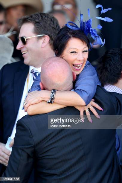 Connections of Polanski celebrate after it won the Victoria Derby during Derby Day at Flemington Racecourse on November 2 2013 in Melbourne Australia