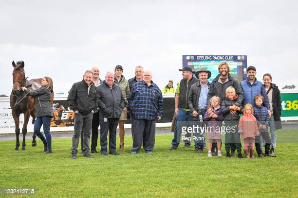 Connections of Realeza after winning the McGrath Estate Agents BM64 Handicap, at Geelong Racecourse on April 20, 2021 in Geelong, Australia.