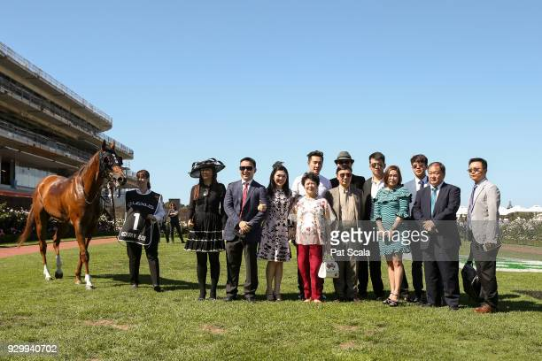 Connections of Redkirk Warrior after winning the Lexus Newmarket Handicap at Flemington Racecourse on March 10 2018 in Flemington Australia