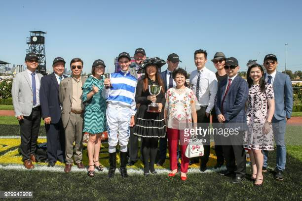 Connections of Redkirk Warrior and Regan Bayliss after winning the Lexus Newmarket Handicap at Flemington Racecourse on March 10 2018 in Flemington...