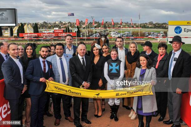 Connections of Showpero after winning the Epi Café Plate at Moonee Valley Racecourse on June 16 2018 in Moonee Ponds Australia