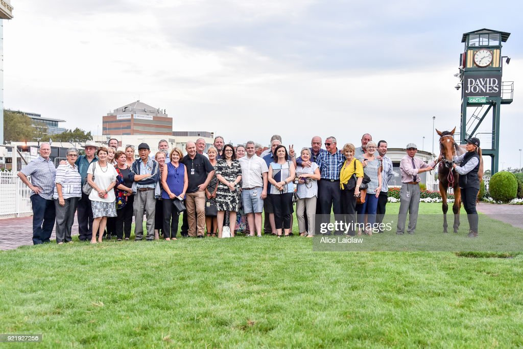 Connections of Sirius Suspect after winning the Nick Johnstone Real Estate BM64 Handicap at Caulfield Racecourse on February 21, 2018 in Caulfield, Australia.