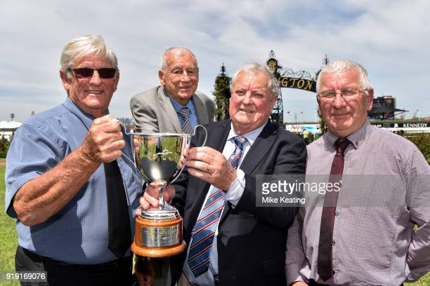 Connections of Spanish Reef LR Kevin Munro Mick Knowles Len Marks and Ken Keys after winning TCL TV Handicap at Flemington Racecourse on February 17...