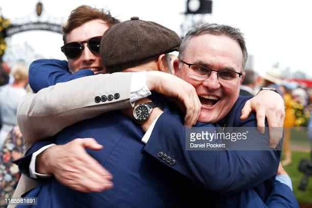 Connections of Vow and Declare celebrate after winning with race 7 the Lexus Melbourne Cup during 2019 Melbourne Cup Day at Flemington Racecourse on...