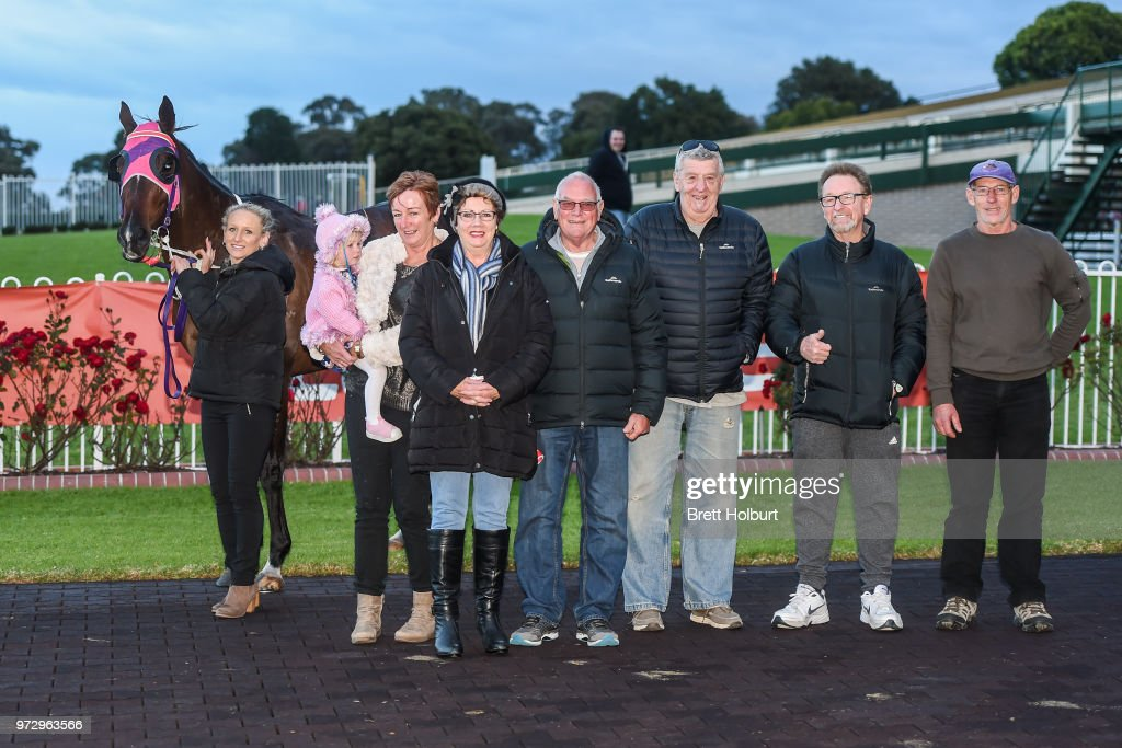 Connections of Wenner after winning the Ladbrokes Protest Payout Handicap at Ladbrokes Park Hillside Racecourse on June 13, 2018 in Springvale, Australia.