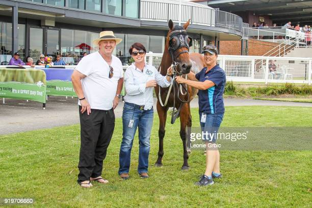 Connections pose with She'll Strykeya after winning the helloworld BM64 Handicap at Moe Racecourse on February 18 2018 in Moe Australia