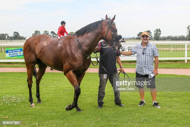 Connections pose with Sir Kalahad after winning the njt20cricketcomau Maiden Plate at Sale Racecourse on January 21 2018 in Sale Australia