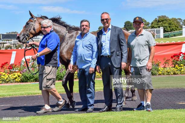 Connections pose with Tessabelle after winning the Nick Johnstone Real Estate Handicap at Ladbrokes Park Lakeside Racecourse on February 15 2017 in...