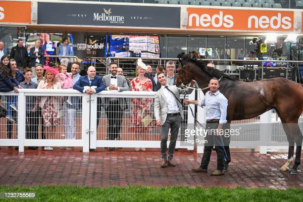 Connections with Ayrton after winning the Darren Gauci Handicap , at Caulfield Racecourse on May 08, 2021 in Caulfield, Australia.