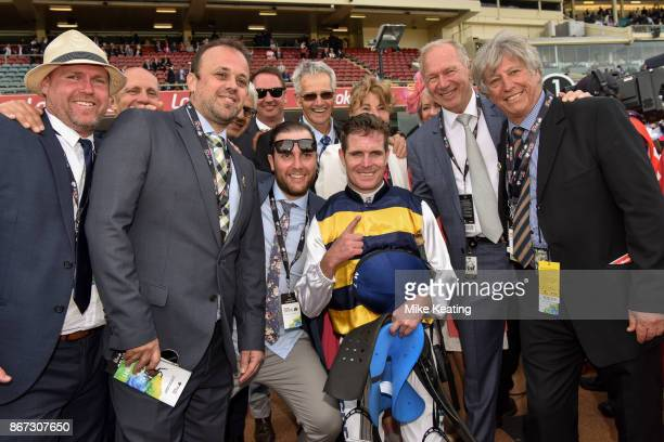 Connections with Luke Nolen after Aloisia won the Drummond Golf Vase at Moonee Valley Racecourse on October 28 2017 in Moonee Ponds Australia