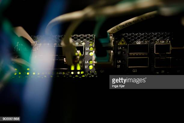 LAN connectors and LED lights of a server in a data room on January 12 2018 in Berlin Germany