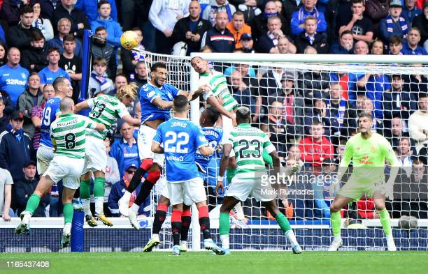 Conner Goldson of Rangers challenges Christopher Jullien of Celtic for the ball during the Ladbrokes Premiership match between Rangers and Celtic at...