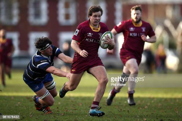 Ben Miller of Kaikorai breaks away during the match between AlhambraUnion and Kaikorai at North Ground on June 23 2018 in Dunedin New Zealand