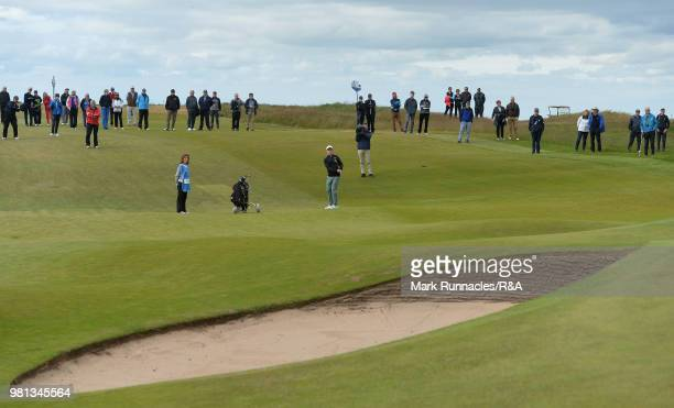 Conner Purcell of Portmarnock plays his second shot at the 15th hole during the Semi final of The Amateur Championship at Royal Aberdeen on June 22...