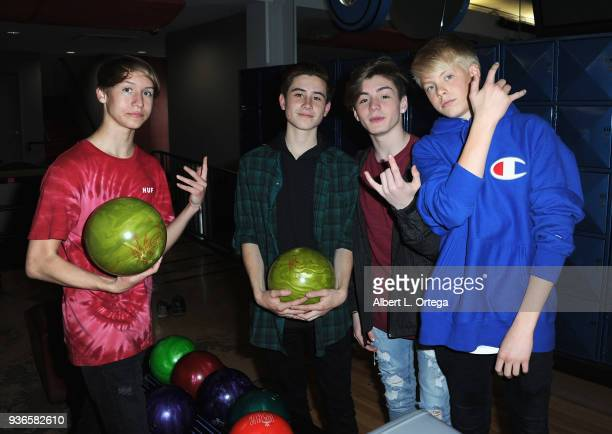 Conner Shane Caden Conrique Mikey Tua and Carson Lueders attend the Birthday Party For Elam Roberson held at Pinz Bowling on March 21 2018 in Los...