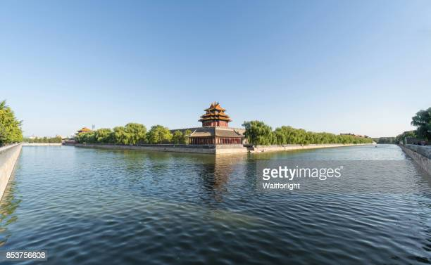 conner turret of the forbidden city in summer,beijing,china. - moat stock pictures, royalty-free photos & images