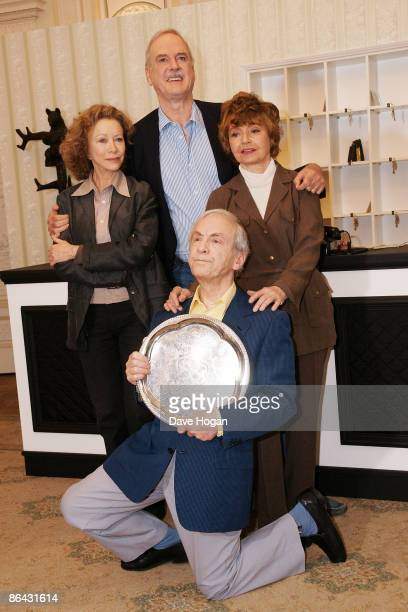 Connie Booth John Cleese Andrew Sachs and Prunella Scales attend a press conference to announce the release of two special episodes of Fawlty Towers...