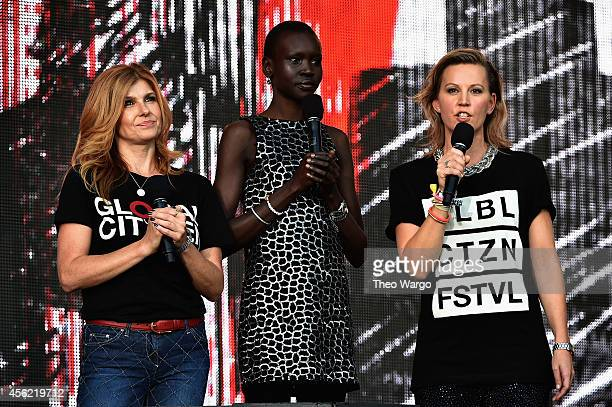 Connie Britton Alek Wek and Helena Thybell speak onstage at the 2014 Global Citizen Festival to end extreme poverty by 2030 in Central Park on...