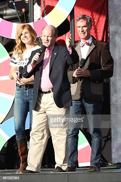 Connie Britton Chris Coons and Bill Nye speak during the 2015 Global Citizen Festival at Central Park on September 26 2015 in New York City