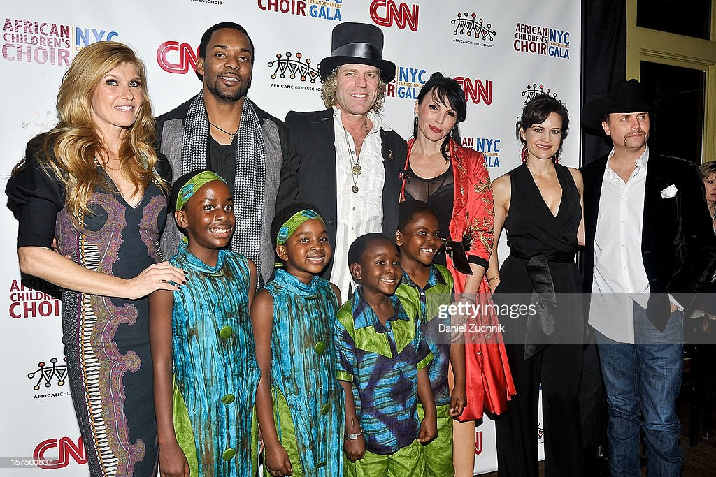 Connie Britton, Damien Horne, Big Kenny, Christiev Alphin, Carla Gugino, John Rich and the African Children's Choir attend the 4th annual African Children's Choir Fundraising Gala at City Winery on December 3, 2012 in New York City.