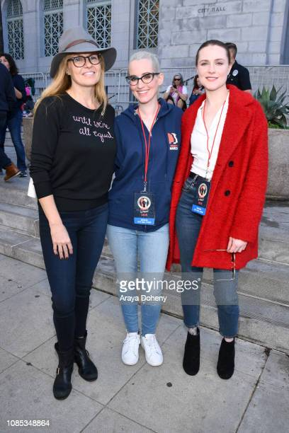 Connie Britton Ingrid Michaelson and Evan Rachel Wood attend the 2019 Women's March Los Angeles on January 19 2019 in Los Angeles California