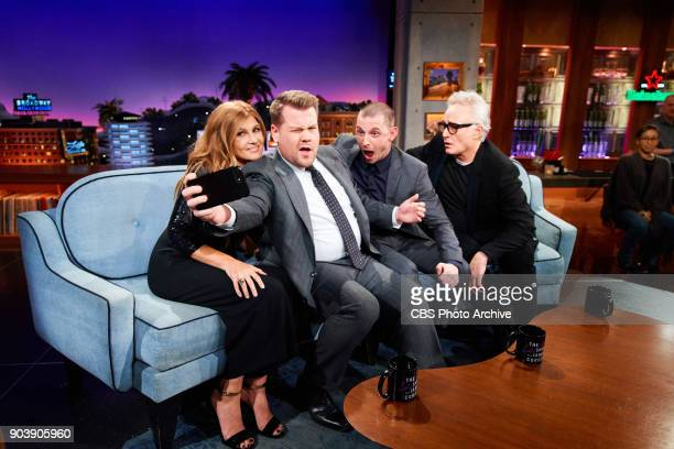 Connie Britton Jamie Bell and Bradley Whitford chat with James Corden during 'The Late Late Show with James Corden' Monday January 8 2018 On The CBS...