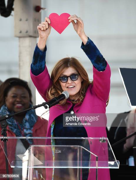 Connie Britton speaks onstage at 2018 Women's March Los Angeles at Pershing Square on January 20 2018 in Los Angeles California
