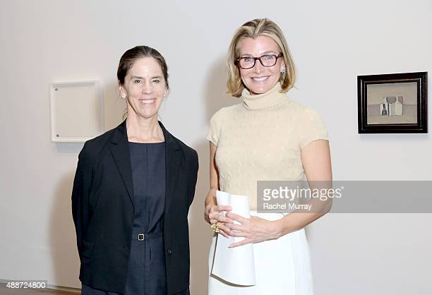 Connie Butler and Eliza Osborne attend a dinner reception for the Ryman/Morandi exhibition on September 16 2015 at the Michael Kohn Gallery in Los...