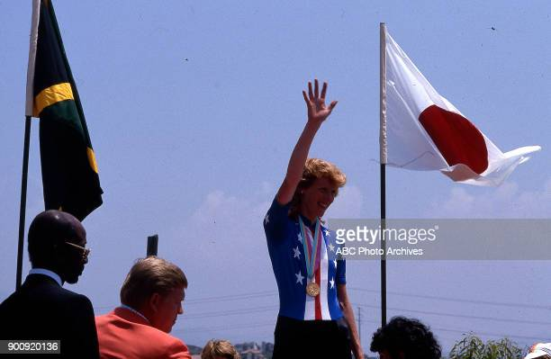Connie Carpenter Women's road cycling medal ceremony at the 1984 Summer Olympics July 29 1984
