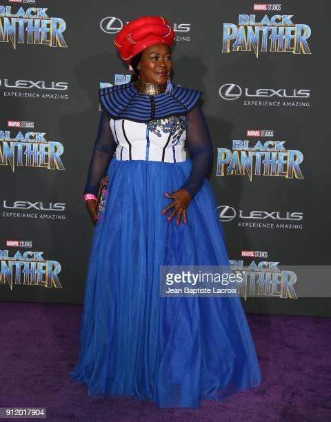 Connie Chiume attends the premiere of Disney and Marvel's 'Black Panther' on January 28 2018 in Los Angeles California
