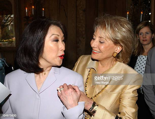 Connie Chung and Barbara Walters during American Women in Radio and Television book launch luncheon for Making Waves The 50 Greatest Women in Radio...
