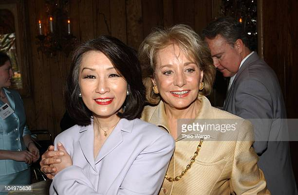 """Connie Chung and Barbara Walters during American Women in Radio and Television book launch luncheon for """"Making Waves: The 50 Greatest Women in Radio..."""
