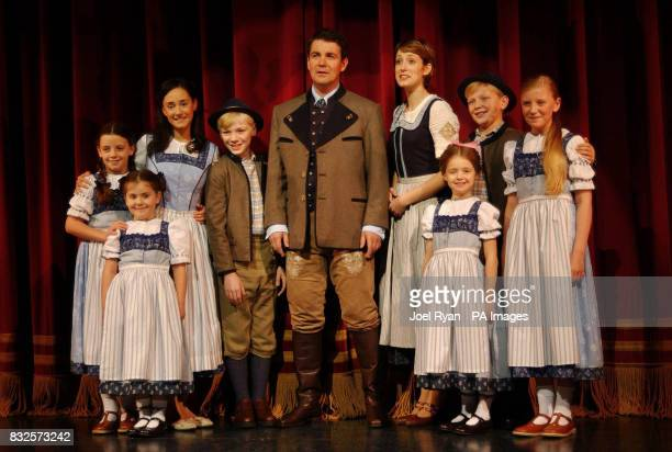 Connie Fisher as Maria and Alexander Hanson as Captain Von Trapp with the Von Trapp children during a photocall for Andrew Lloyd Webber's new musical...