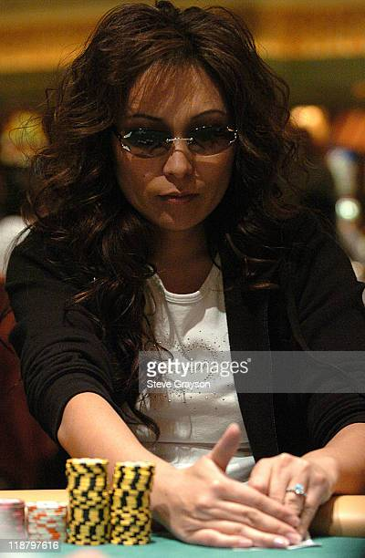 Connie Kim competes in day two of the World Poker Tour's Doyle Brunson North American Poker Championship at the Bellagio Hotel in Las Vegas Nevada...