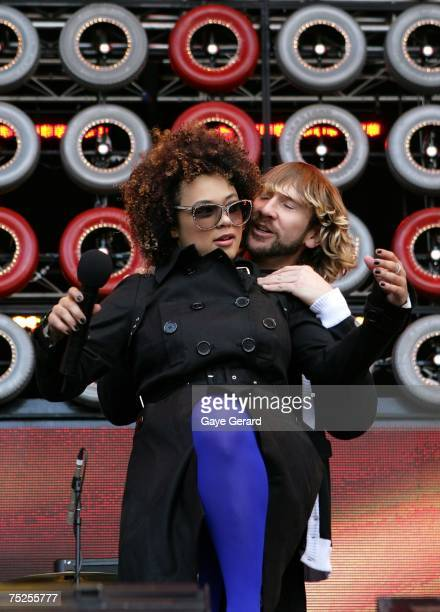 Connie Mitchell and MC Double D of Sneaky Sound System perform on stage at the Australian leg of the Live Earth series of concerts at Aussie Stadium...