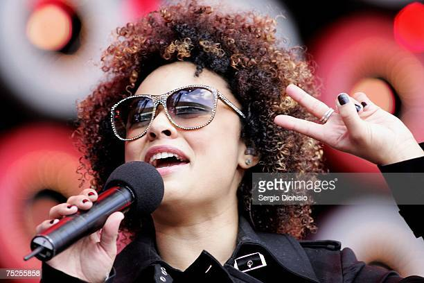 Connie Mitchell of Sneaky Sound System performs on stage at the Australian leg of the Live Earth series of concerts at Aussie Stadium Moore Park on...