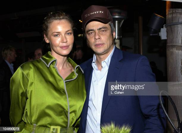 Connie Nielsen and Benicio Del Toro during The Hunted Premiere AfterParty at Napa Valley Grill in Los Angeles California United States