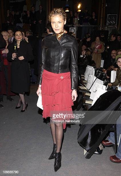 Connie Nielsen during Mercedes Benz Fashion Week Fall 2003 Collections Zac Posen Front Row at Four Seasons Restaurant in New York City New York...