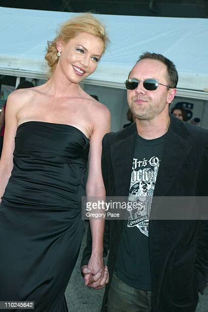 Connie Nielsen with Lars Ulrich of Metallica during The Great Raid New York City Premiere Arrivals at The Intrepid Sea Air and Space Museum in New...