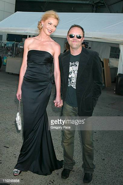 Connie Nielsen with Lars Ulrich of Metallica during 'The Great Raid' New York City Premiere Arrivals at The Intrepid Sea Air and Space Museum in New...