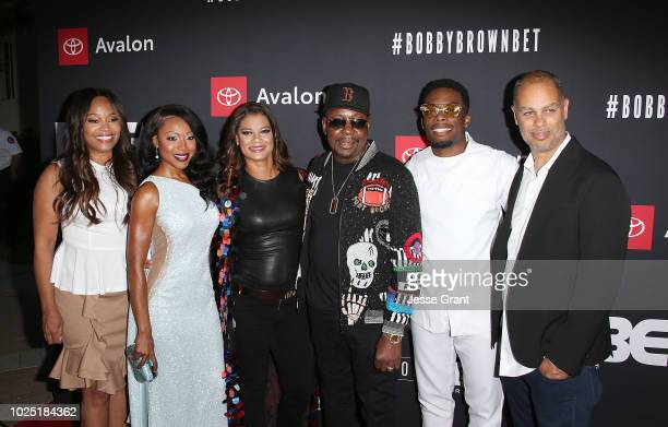 Connie Orlando Gabrielle Dennis Alicia Etheredge Bobby Brown Woody McClain and Jesse Collins attend the premiere screening of 'The Bobby Brown Story'...