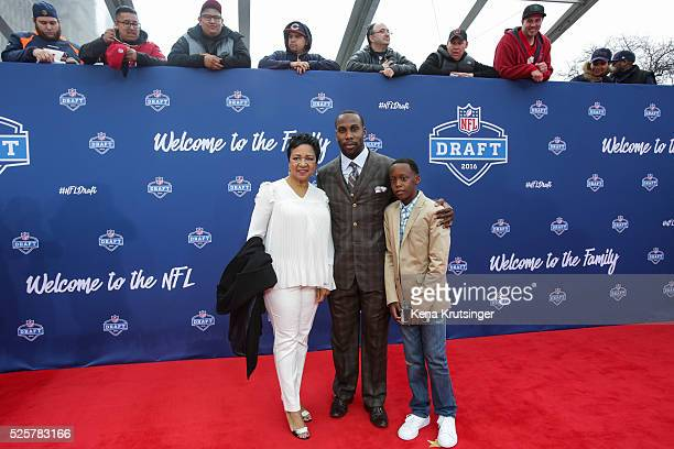 Connie Payton arrives with Thomas Davis winner of the Walter Payton NFL Man of the Year Award to the 2016 NFL Draft at the Auditorium Theatre of...