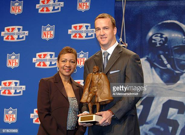 Connie Payton Walter Payton's wife with Peyton Manning at the Walter Payton NFL Man of the Year press conference at the Super Bowl XL Media Center at...