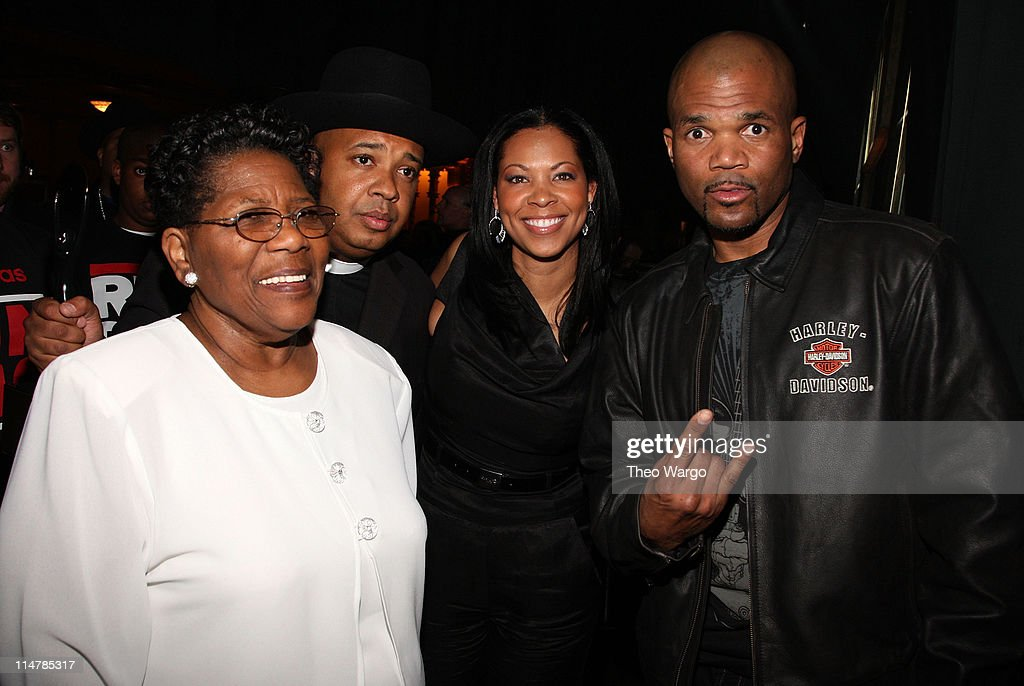 Connie Perry, mother of deceased Jason 'Jam Master Jay' Mizell, Joseph 'Rev. Run' Simmons, Terri Corley- Mizell, wife of deceased Jason 'Jam Master Jay' Mizell, and Darryl 'D.M.C.' McDaniels attend the 24th Annual Rock and Roll Hall of Fame Induction Ceremony at Public Hall on April 4, 2009 in Cleveland, Ohio.