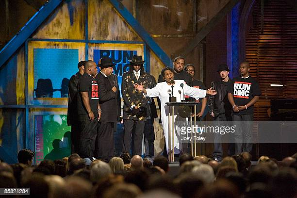 Connie Perry mother of deceased Jason 'Jam Master Jay' Mizell speaks on stage besdie Eminem Joseph Simmons and Darryl McDaniels during the 24th...