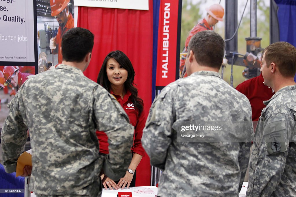 Connie Shi of Halliburton talks to Veterans looking for jobs