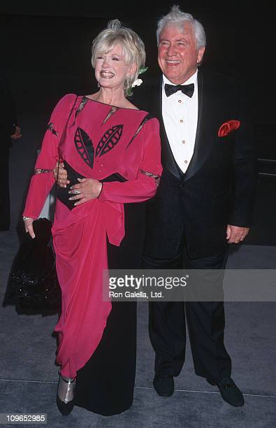 Connie Stevens and Merv Griffin during Tom Ford Hosts APLA Fashion Benefit Gala May 6 1997 at Barker Hanger Santa Monica Airport in Santa Monica...